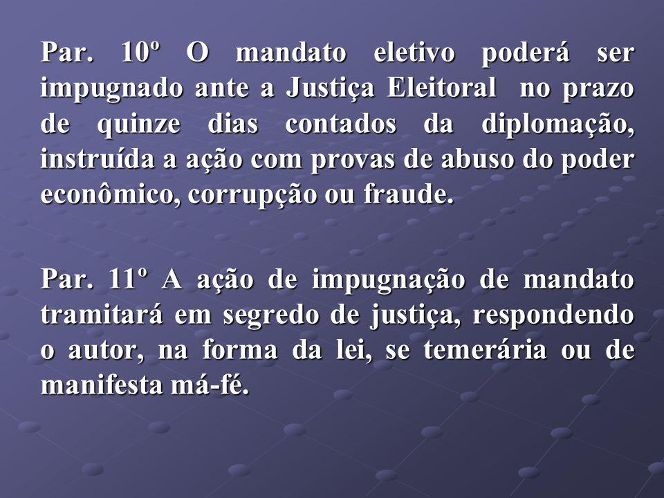 Par. 10º O mandato eletivo poderá ser impugnado ante a Justiça Eleitoral no prazo de quinze dias contados da diplomação, instruída a ação com provas de abuso do poder econômico, corrupção ou fraude.