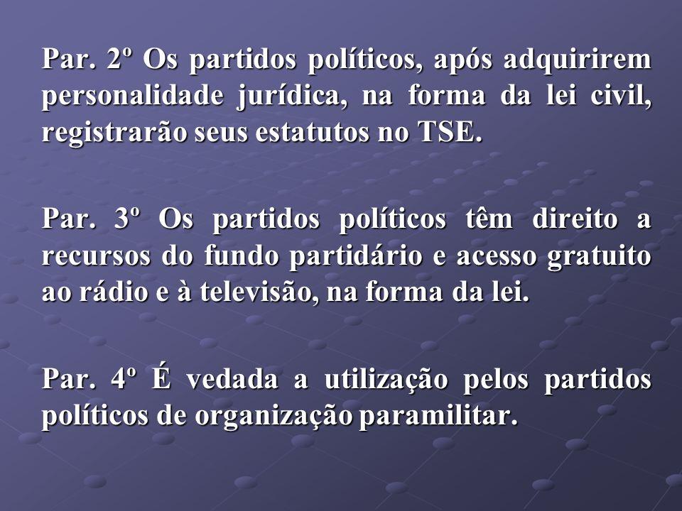 Par. 2º Os partidos políticos, após adquirirem personalidade jurídica, na forma da lei civil, registrarão seus estatutos no TSE.