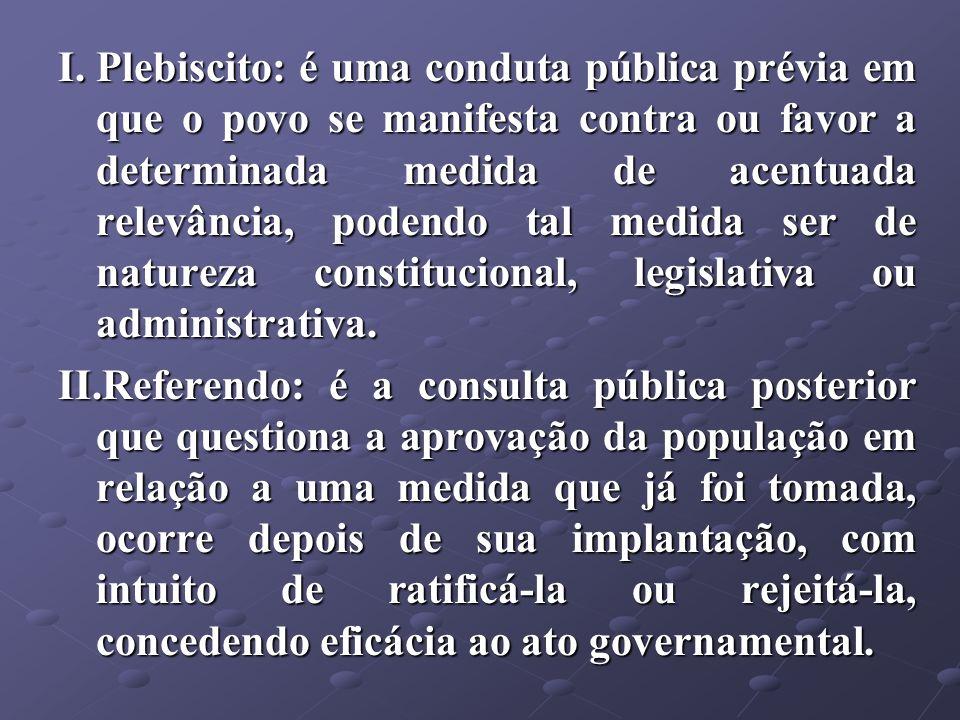 Plebiscito: é uma conduta pública prévia em que o povo se manifesta contra ou favor a determinada medida de acentuada relevância, podendo tal medida ser de natureza constitucional, legislativa ou administrativa.