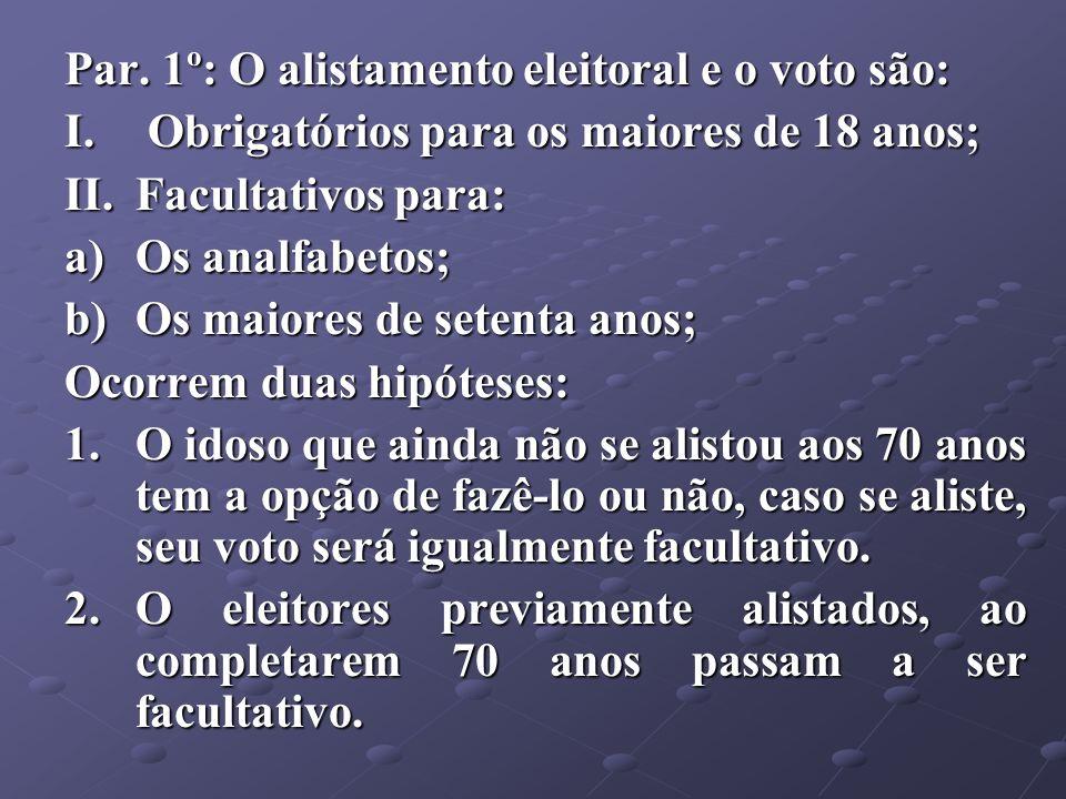 Par. 1º: O alistamento eleitoral e o voto são: