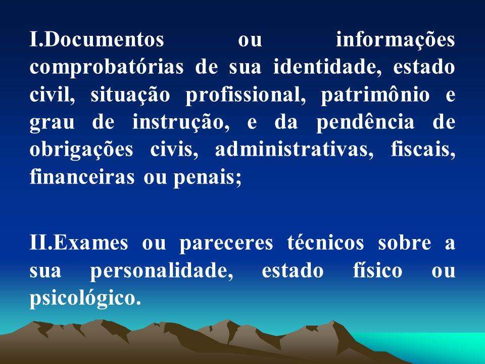 Documentos ou informações comprobatórias de sua identidade, estado civil, situação profissional, patrimônio e grau de instrução, e da pendência de obrigações civis, administrativas, fiscais, financeiras ou penais;