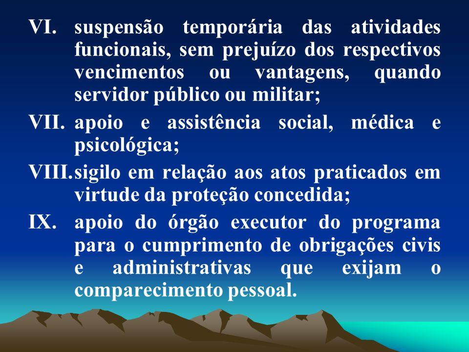 suspensão temporária das atividades funcionais, sem prejuízo dos respectivos vencimentos ou vantagens, quando servidor público ou militar;