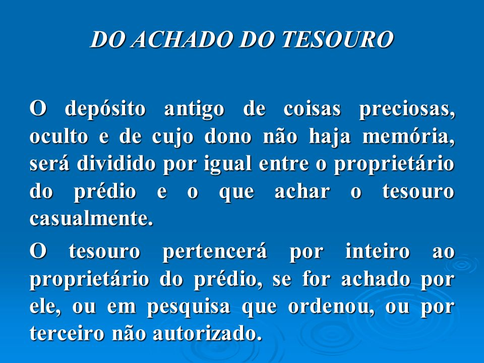 DO ACHADO DO TESOURO