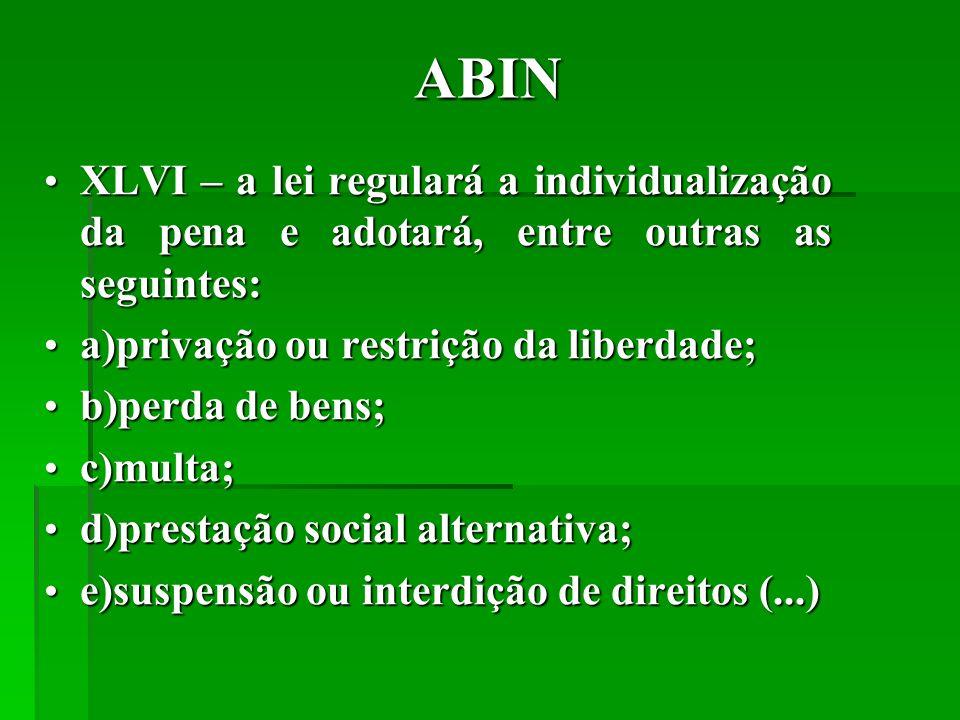 ABIN XLVI – a lei regulará a individualização da pena e adotará, entre outras as seguintes: a)privação ou restrição da liberdade;