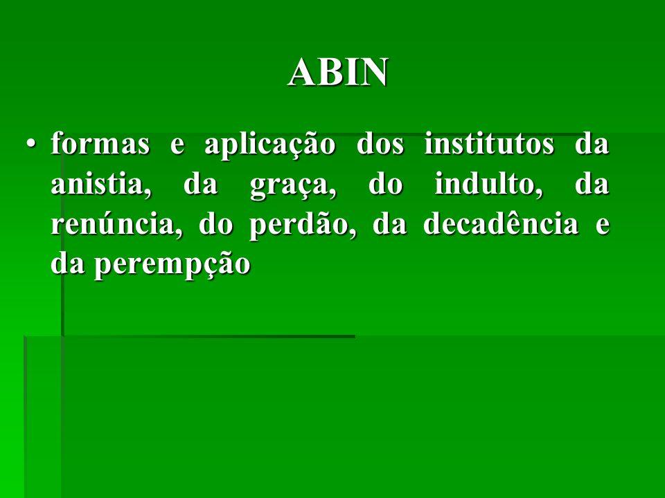 ABIN formas e aplicação dos institutos da anistia, da graça, do indulto, da renúncia, do perdão, da decadência e da perempção.