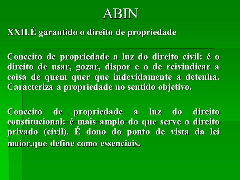 ABIN É garantido o direito de propriedade