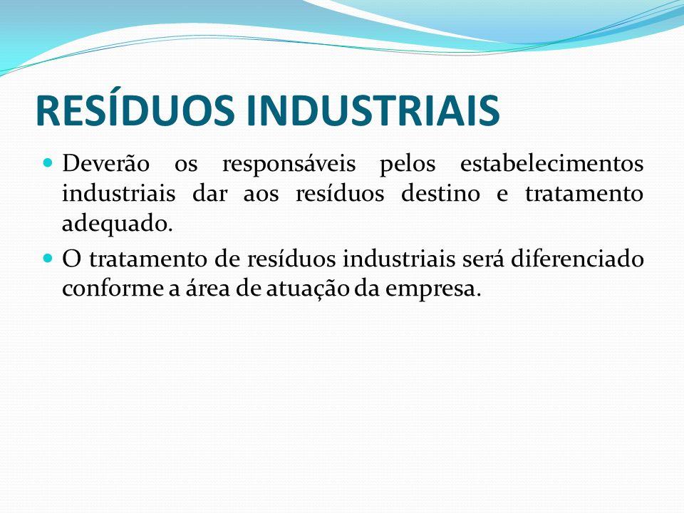 RESÍDUOS INDUSTRIAIS Deverão os responsáveis pelos estabelecimentos industriais dar aos resíduos destino e tratamento adequado.