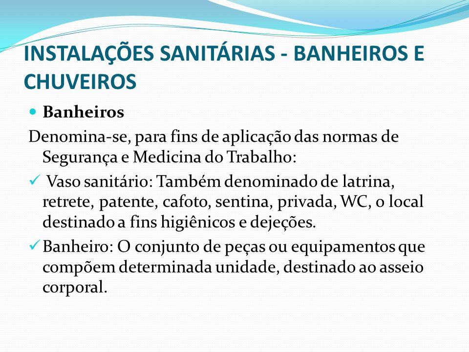 INSTALAÇÕES SANITÁRIAS - BANHEIROS E CHUVEIROS