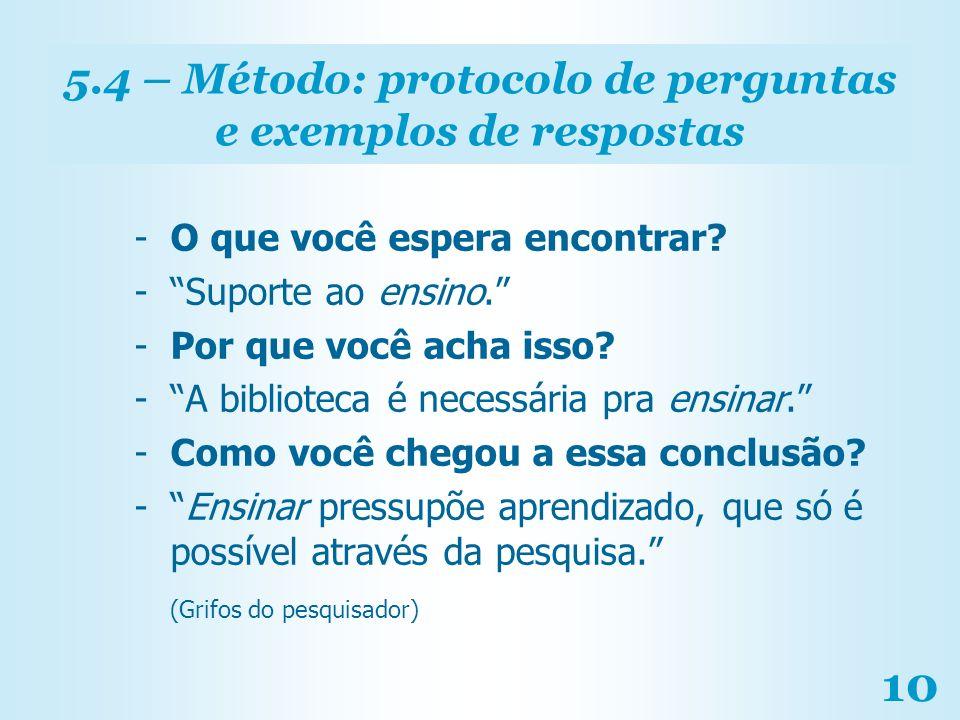 5.4 – Método: protocolo de perguntas e exemplos de respostas