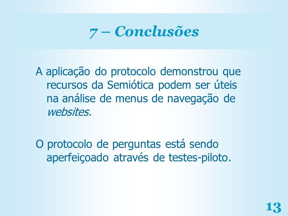 7 – Conclusões A aplicação do protocolo demonstrou que recursos da Semiótica podem ser úteis na análise de menus de navegação de websites.