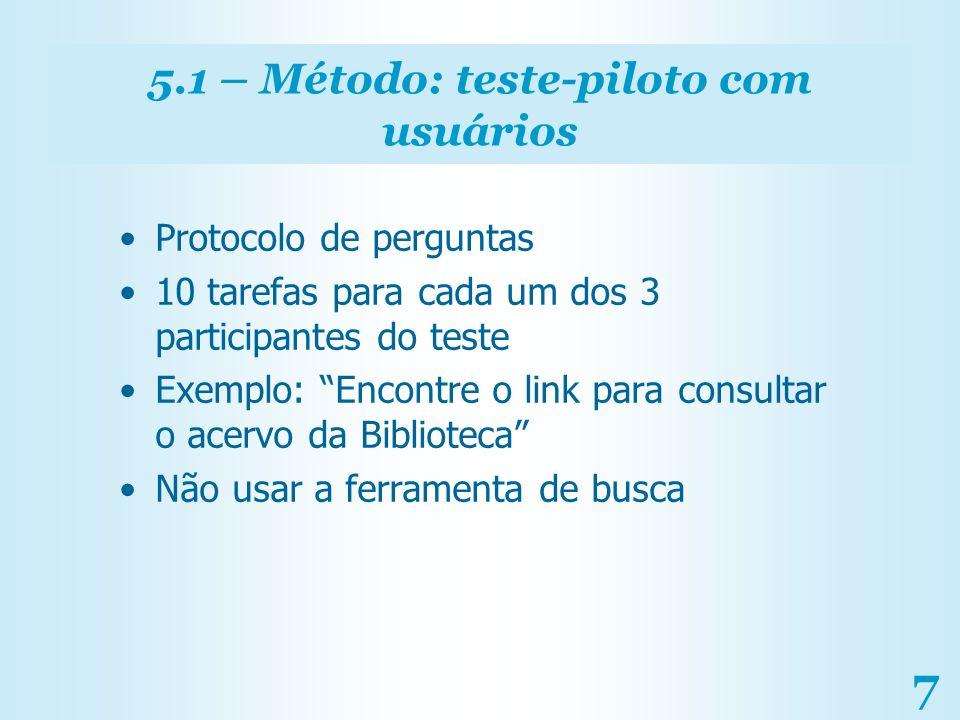 5.1 – Método: teste-piloto com usuários