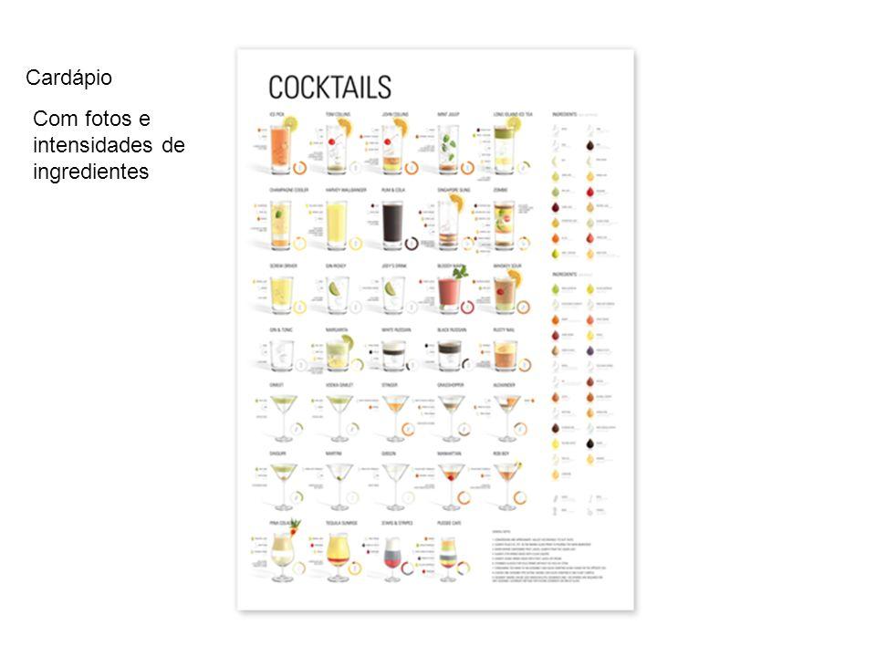 Cardápio Com fotos e intensidades de ingredientes