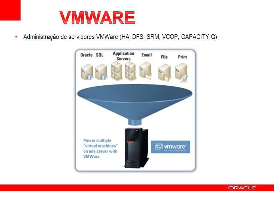 VMWARE Administração de servidores VMWare (HA, DFS, SRM, VCOP, CAPACITYIQ).
