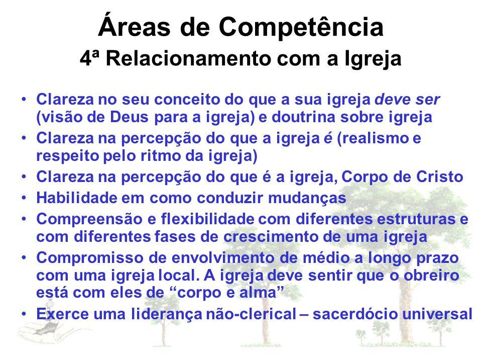 Áreas de Competência 4ª Relacionamento com a Igreja