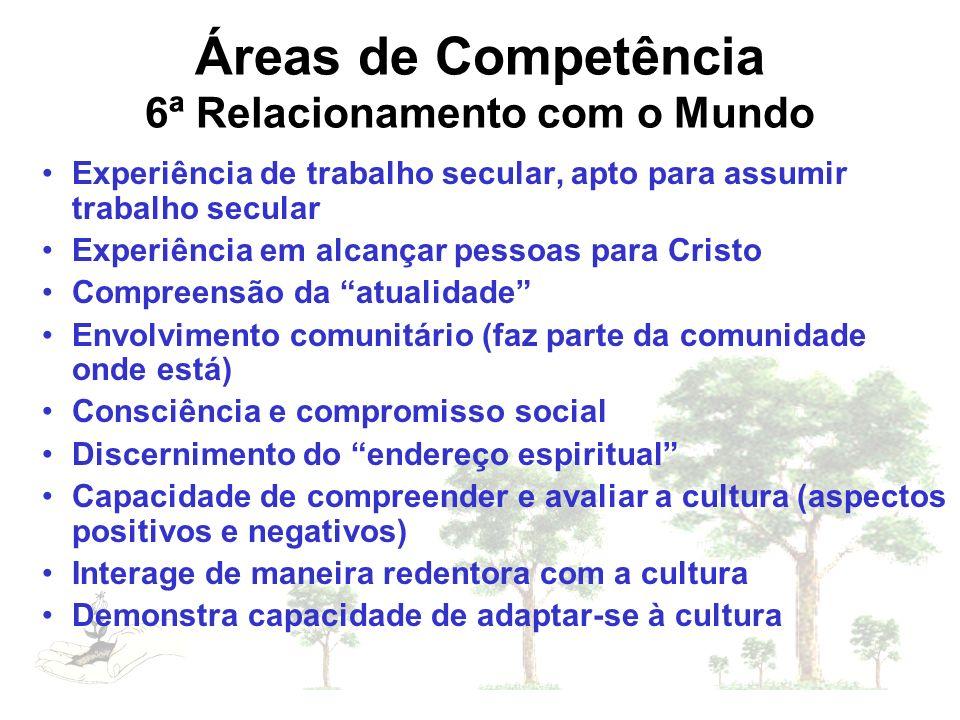 Áreas de Competência 6ª Relacionamento com o Mundo
