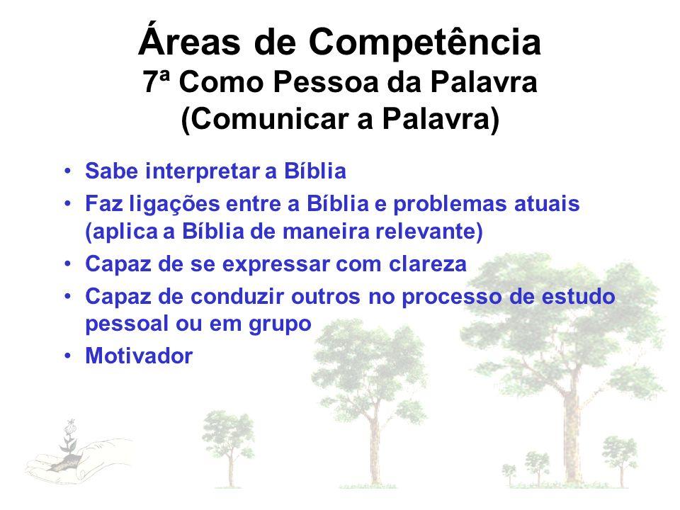 Áreas de Competência 7ª Como Pessoa da Palavra (Comunicar a Palavra)