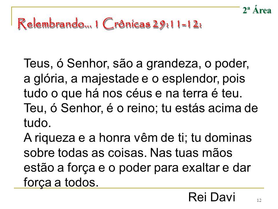 2ª Área Relembrando... 1 Crônicas 29:11-12: