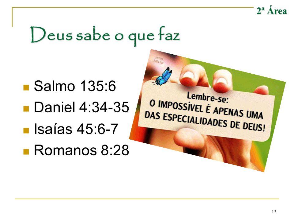 Deus sabe o que faz Salmo 135:6 Daniel 4:34-35 Isaías 45:6-7