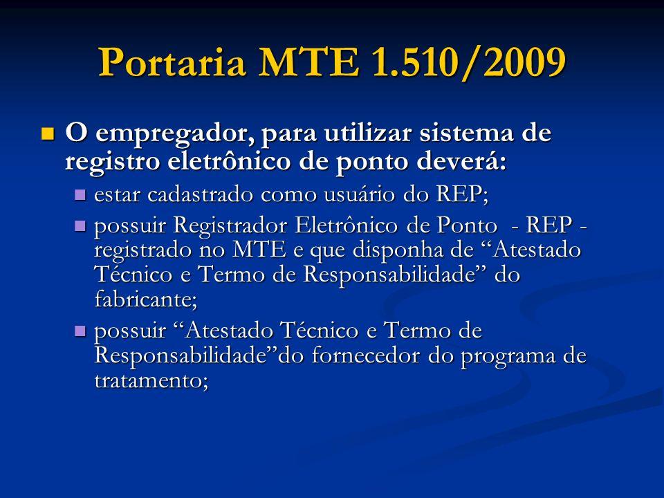 Portaria MTE 1.510/2009 O empregador, para utilizar sistema de registro eletrônico de ponto deverá:
