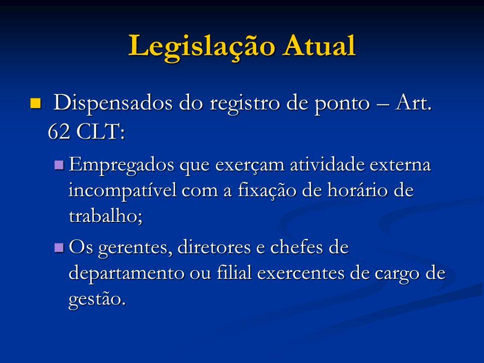 Legislação Atual Dispensados do registro de ponto – Art. 62 CLT: