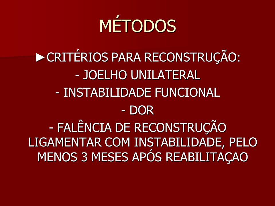 MÉTODOS ►CRITÉRIOS PARA RECONSTRUÇÃO: - JOELHO UNILATERAL