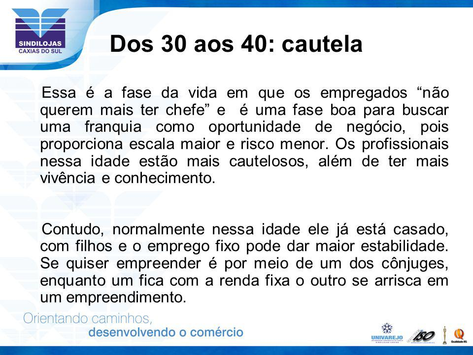 Dos 30 aos 40: cautela