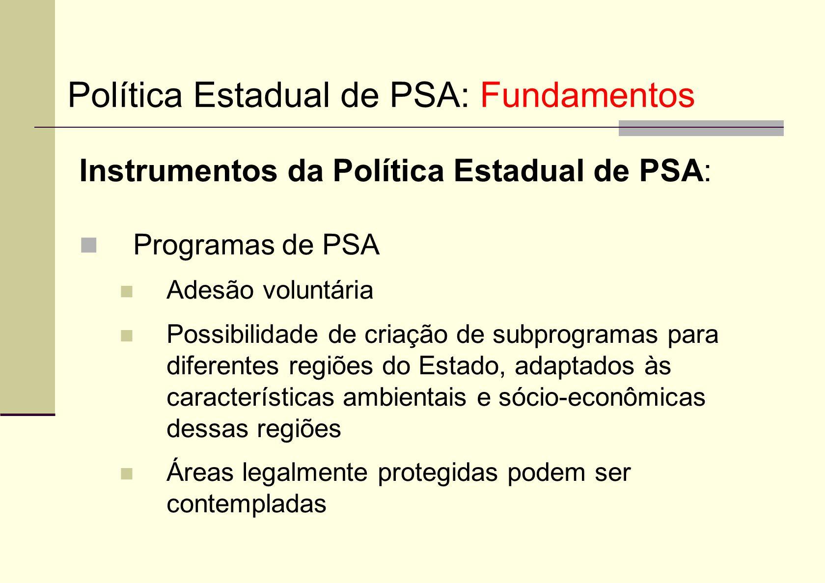 Política Estadual de PSA: Fundamentos
