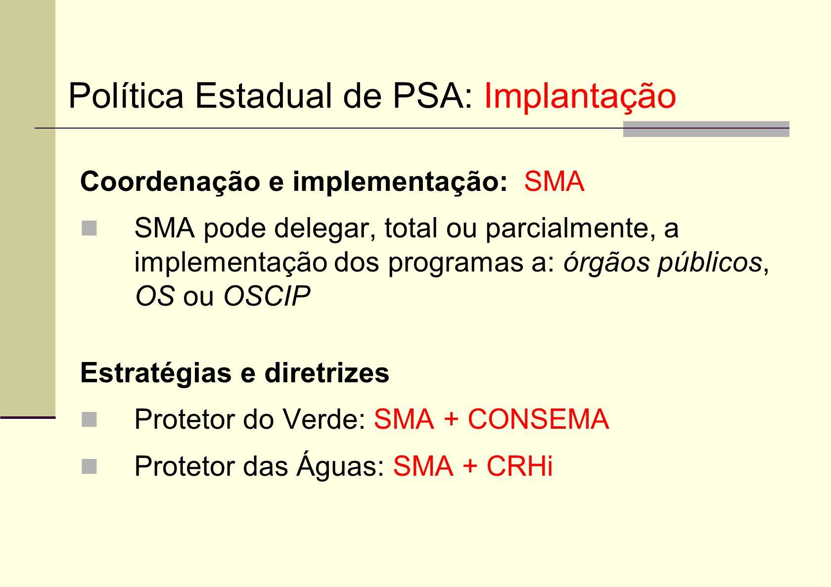 Política Estadual de PSA: Implantação
