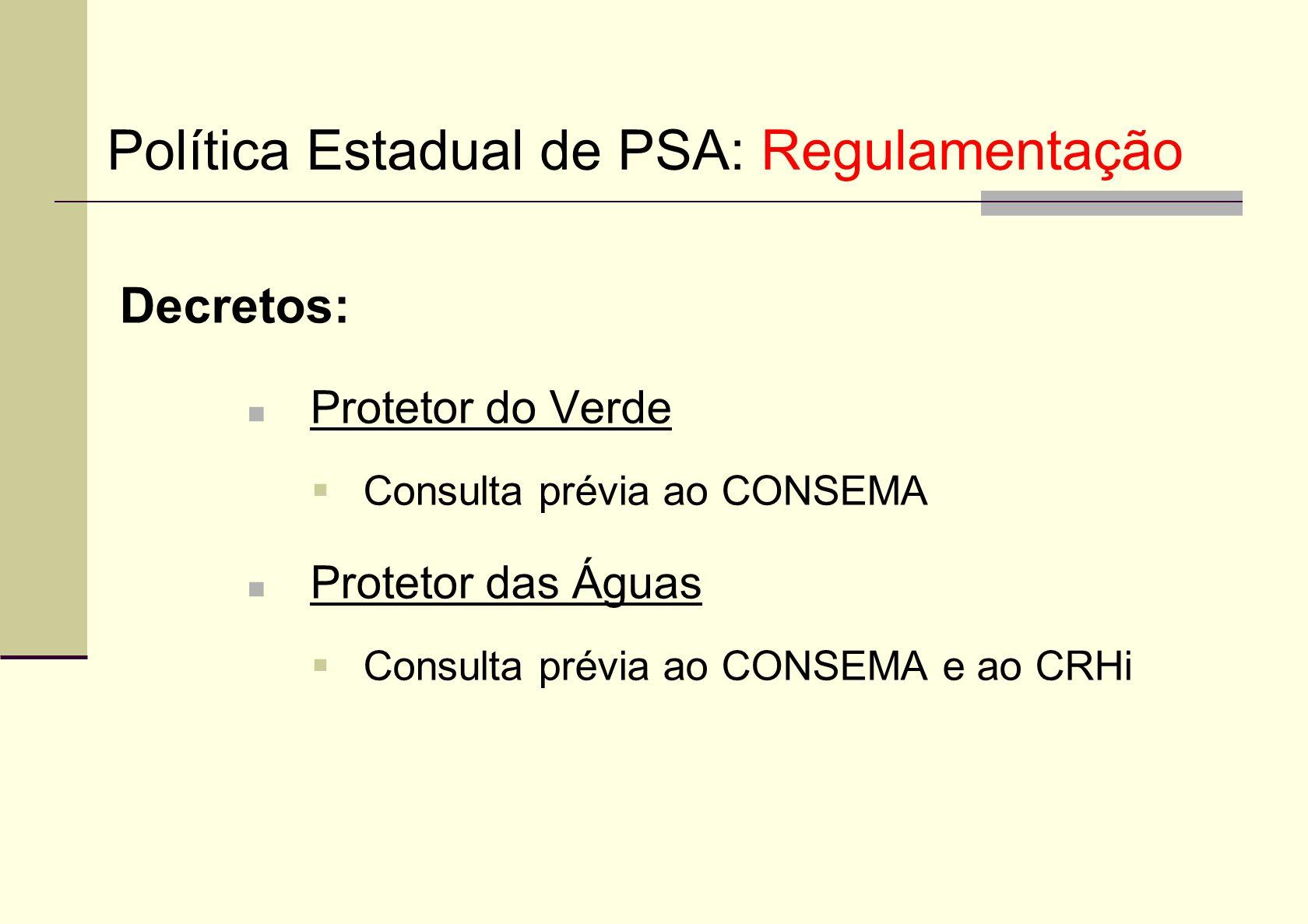 Política Estadual de PSA: Regulamentação
