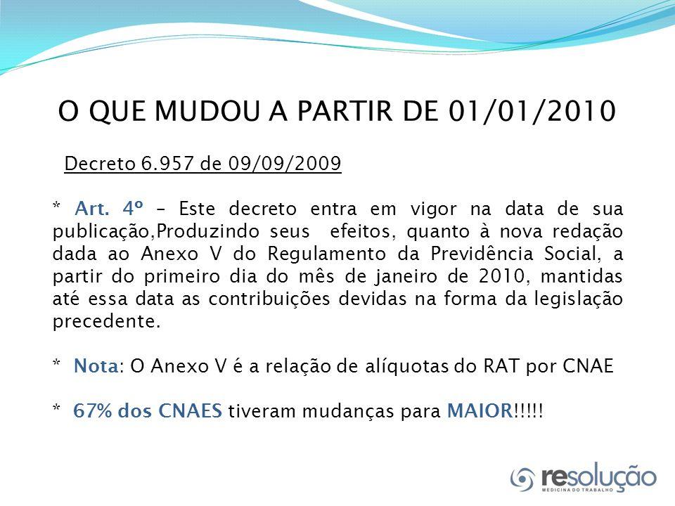 O QUE MUDOU A PARTIR DE 01/01/2010