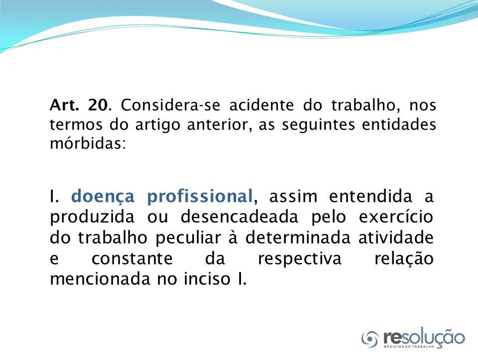 Art. 20. Considera-se acidente do trabalho, nos termos do artigo anterior, as seguintes entidades mórbidas: