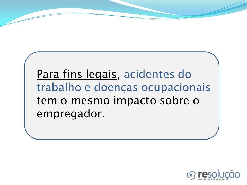 Para fins legais, acidentes do trabalho e doenças ocupacionais tem o mesmo impacto sobre o empregador.