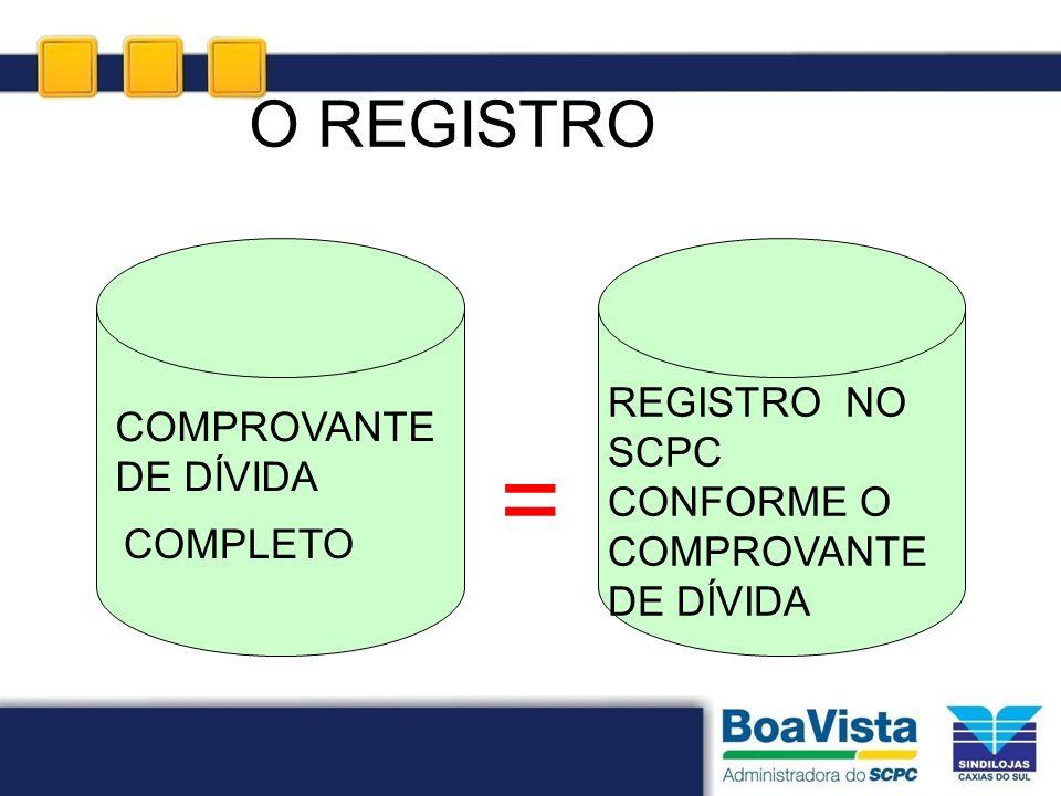 = O REGISTRO REGISTRO NO SCPC CONFORME O COMPROVANTE DE DÍVIDA