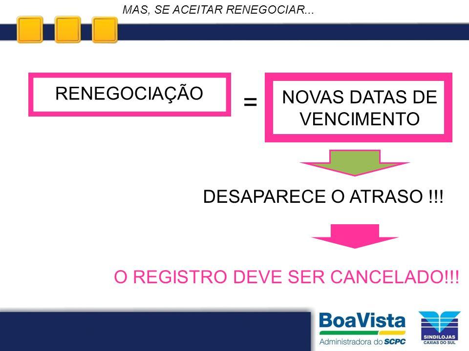 = RENEGOCIAÇÃO NOVAS DATAS DE VENCIMENTO DESAPARECE O ATRASO !!!
