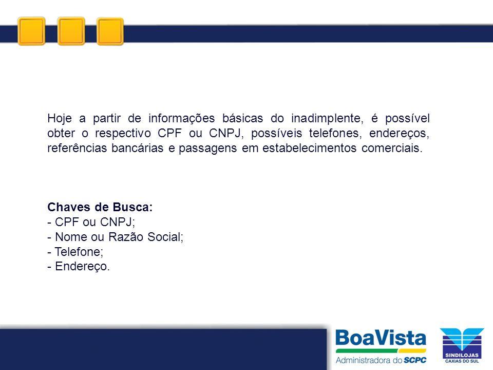 Hoje a partir de informações básicas do inadimplente, é possível obter o respectivo CPF ou CNPJ, possíveis telefones, endereços, referências bancárias e passagens em estabelecimentos comerciais.