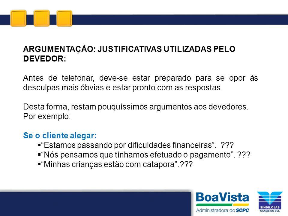 ARGUMENTAÇÃO: JUSTIFICATIVAS UTILIZADAS PELO DEVEDOR: