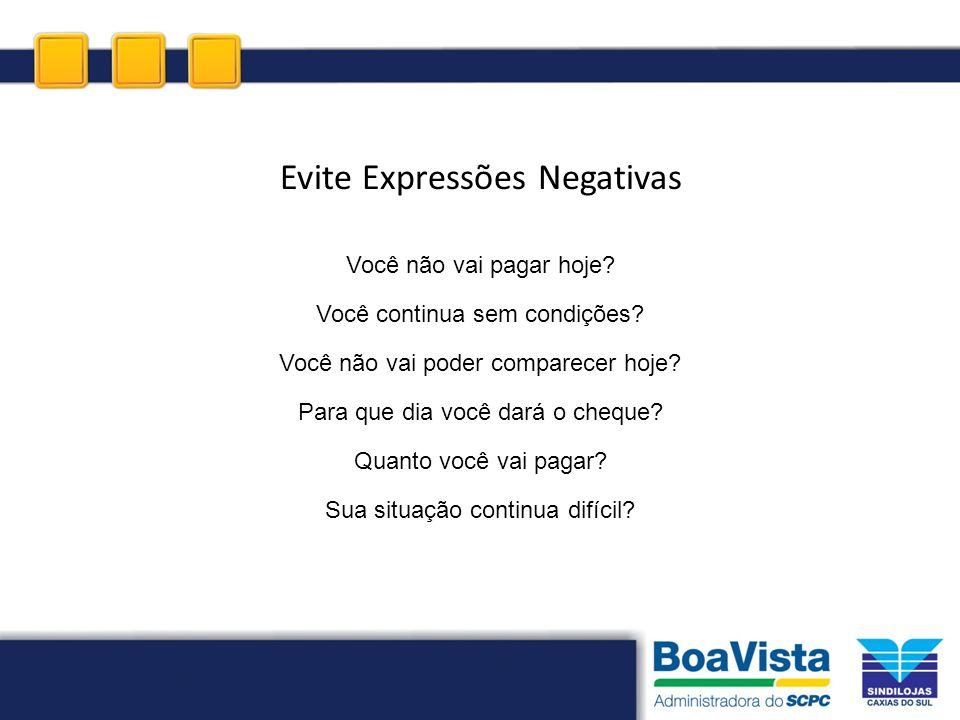 Evite Expressões Negativas