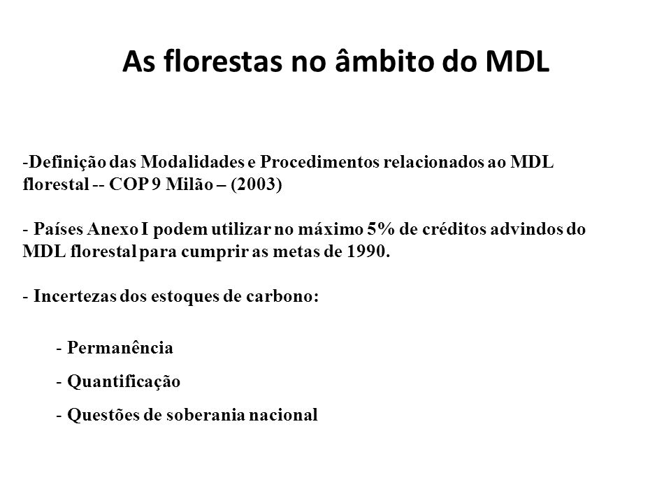 As florestas no âmbito do MDL