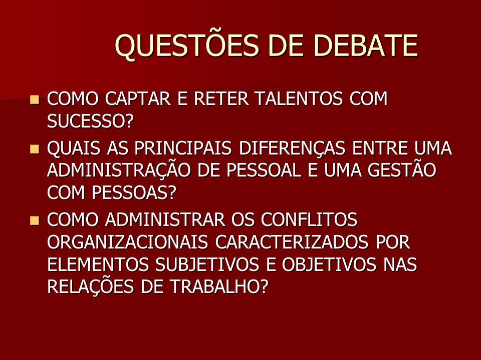 QUESTÕES DE DEBATE COMO CAPTAR E RETER TALENTOS COM SUCESSO