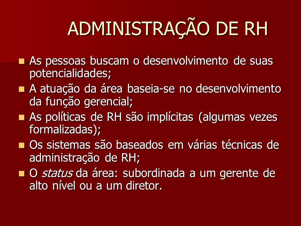 ADMINISTRAÇÃO DE RH As pessoas buscam o desenvolvimento de suas potencialidades; A atuação da área baseia-se no desenvolvimento da função gerencial;