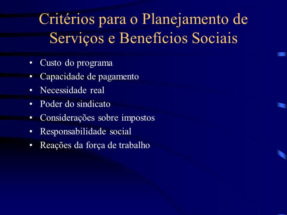Critérios para o Planejamento de Serviços e Benefícios Sociais