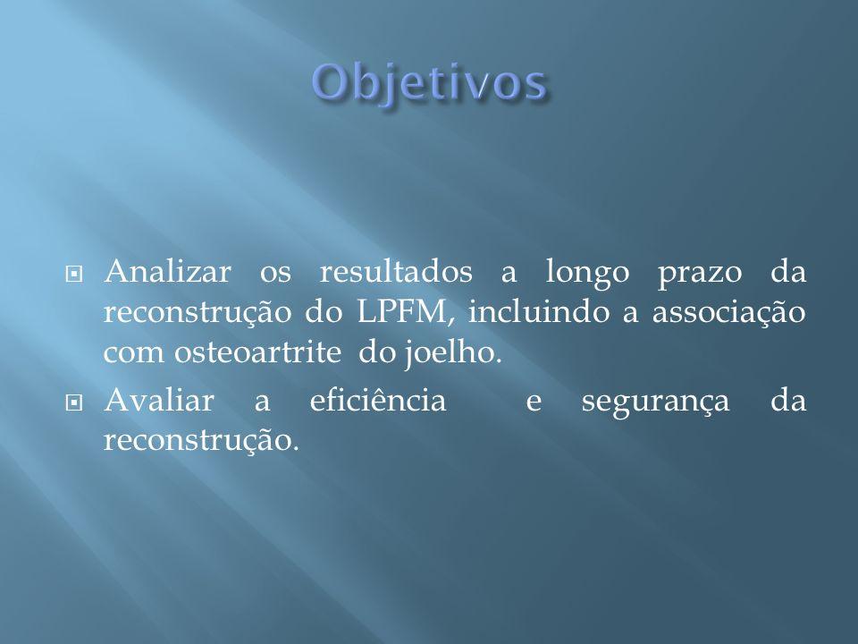 ObjetivosAnalizar os resultados a longo prazo da reconstrução do LPFM, incluindo a associação com osteoartrite do joelho.