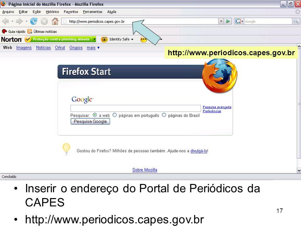 Inserir o endereço do Portal de Periódicos da CAPES