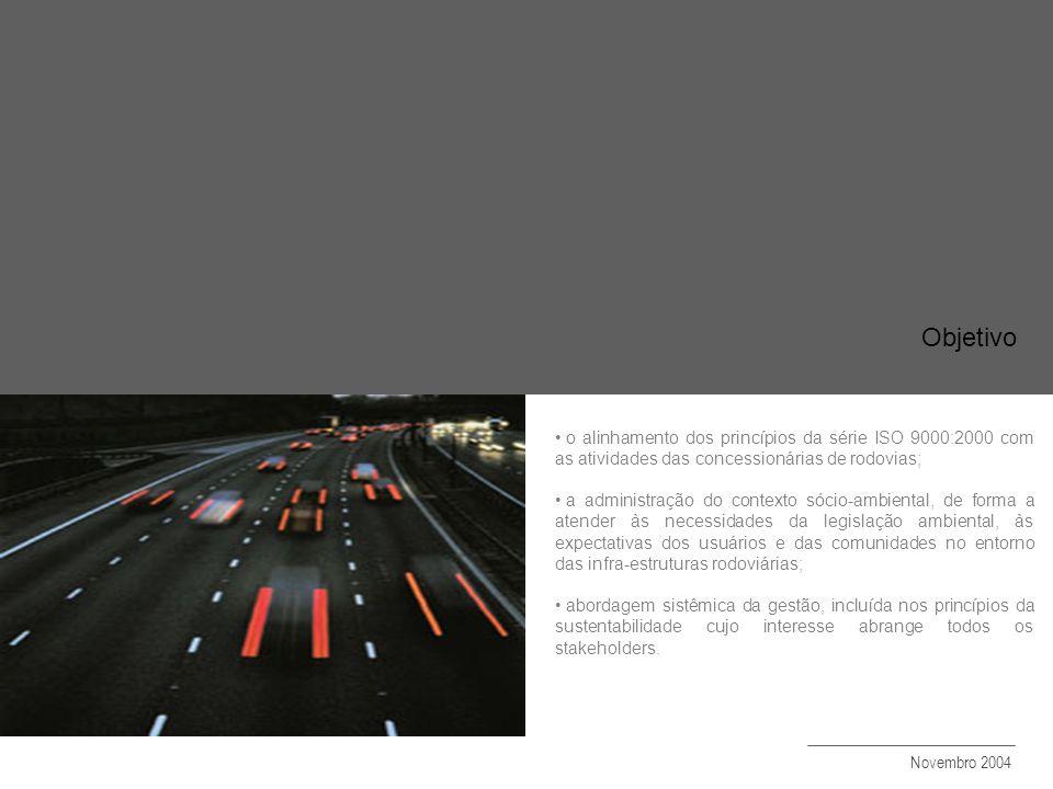 o alinhamento dos princípios da série ISO 9000:2000 com as atividades das concessionárias de rodovias;