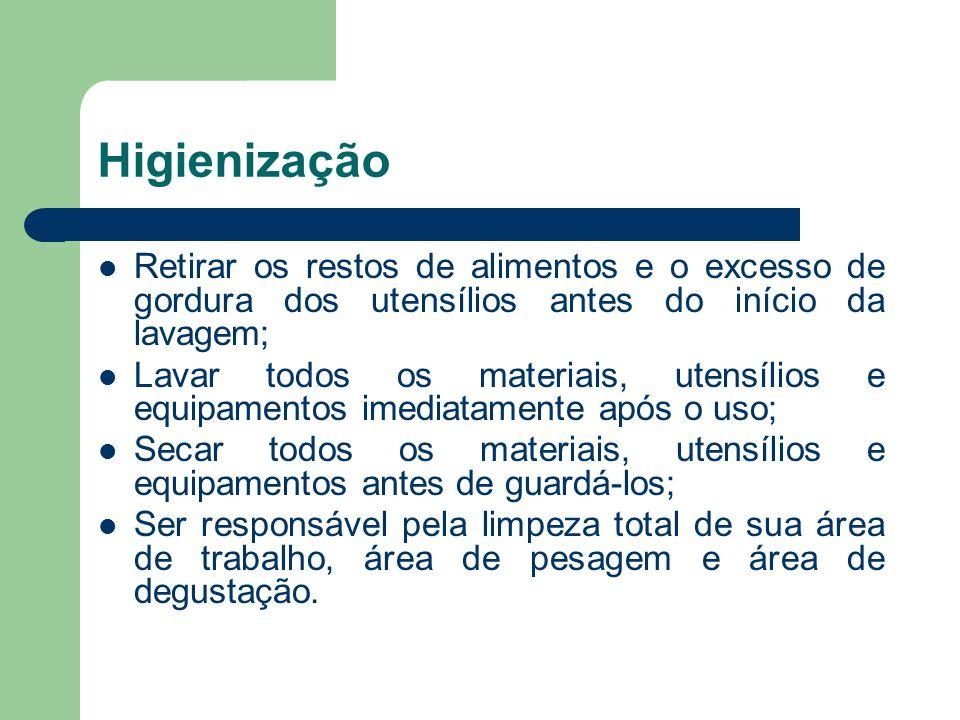 Higienização Retirar os restos de alimentos e o excesso de gordura dos utensílios antes do início da lavagem;