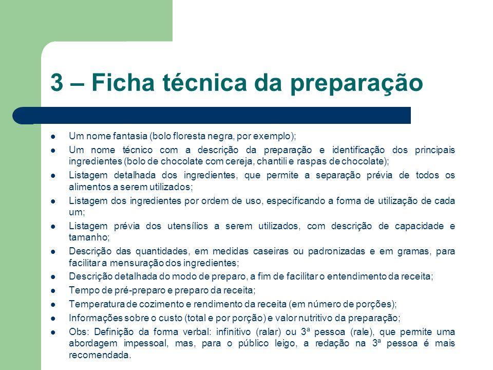 3 – Ficha técnica da preparação