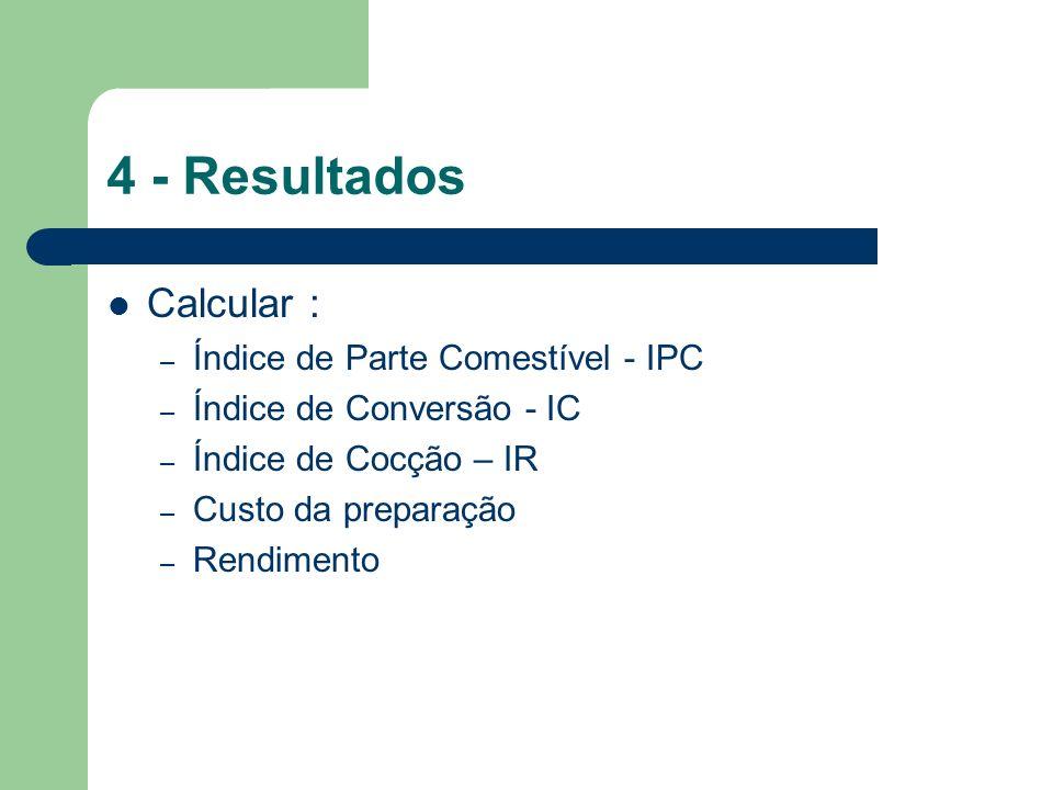 4 - Resultados Calcular : Índice de Parte Comestível - IPC
