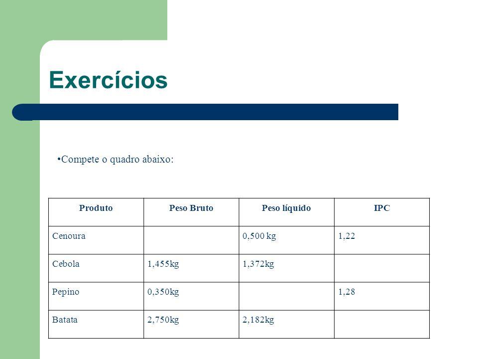 Exercícios Compete o quadro abaixo: Produto Peso Bruto Peso líquido
