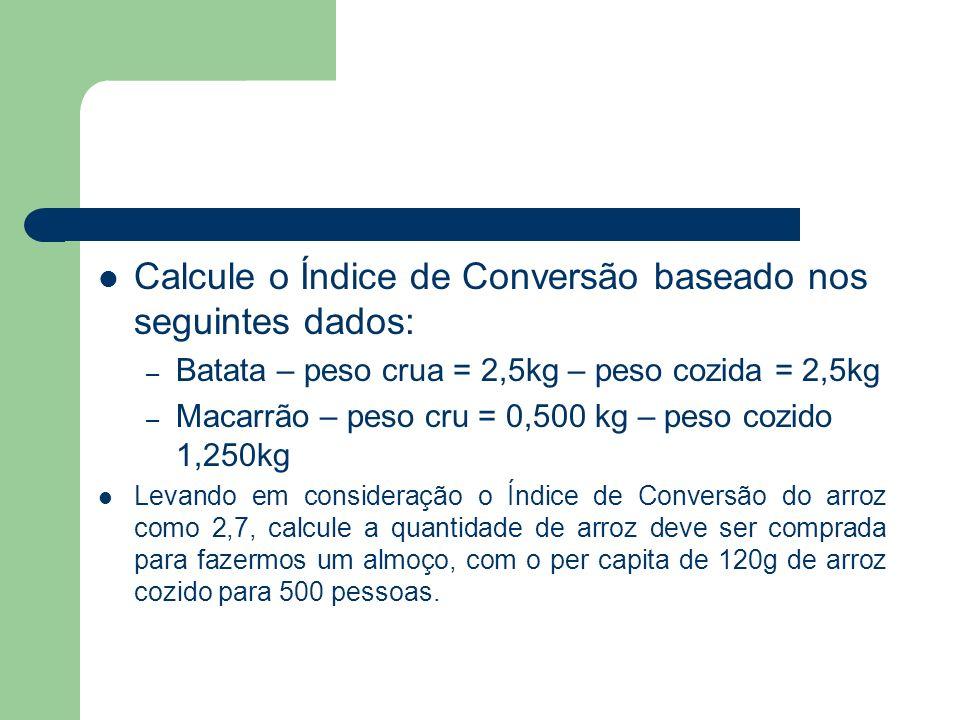 Calcule o Índice de Conversão baseado nos seguintes dados: