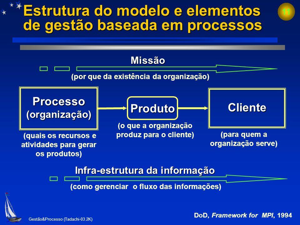 Estrutura do modelo e elementos de gestão baseada em processos